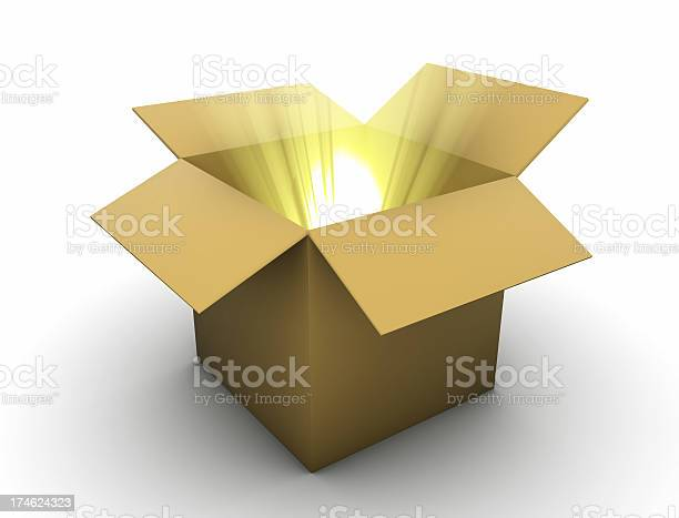 Schachtel Mit Goldener Lightbeams Stockfoto und mehr Bilder von Ausrüstung und Geräte
