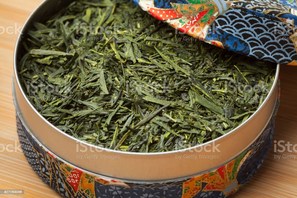 Box with Japanese green tea stock photo