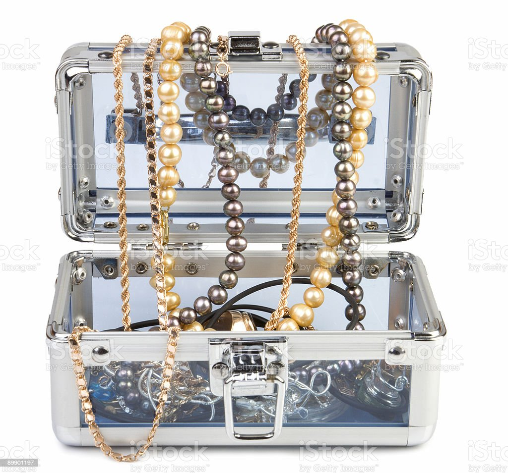 Box with jewelry set royalty-free stock photo