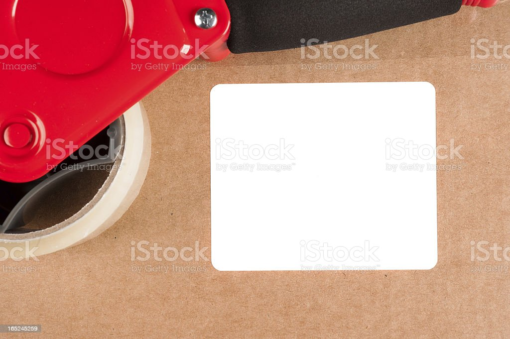 Box with label stock photo