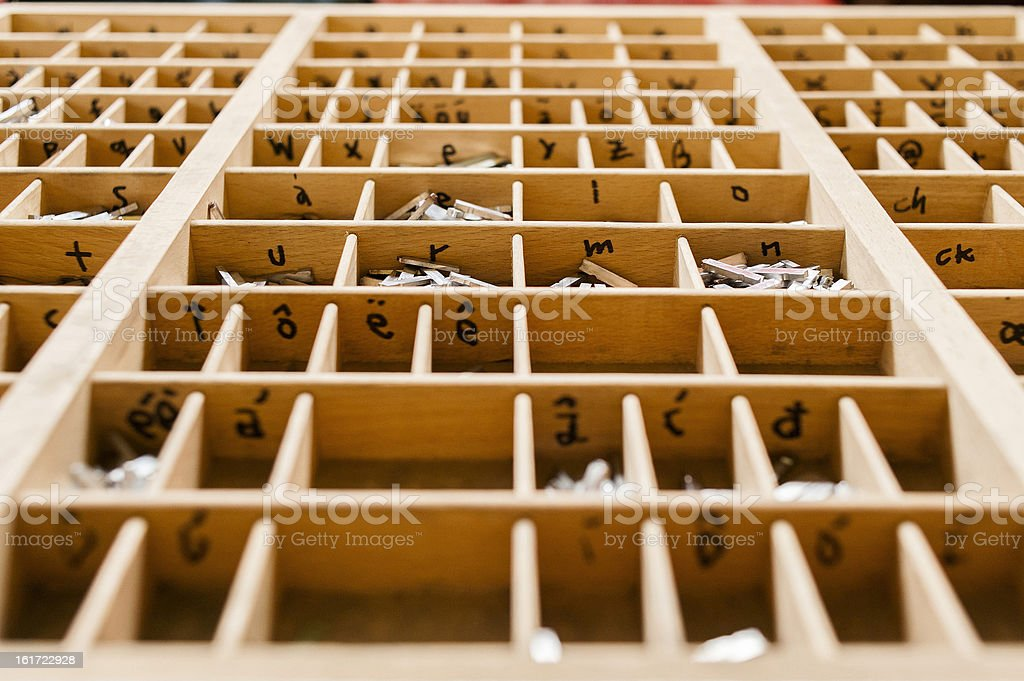 Box with letters for printing press royalty-free stock photo