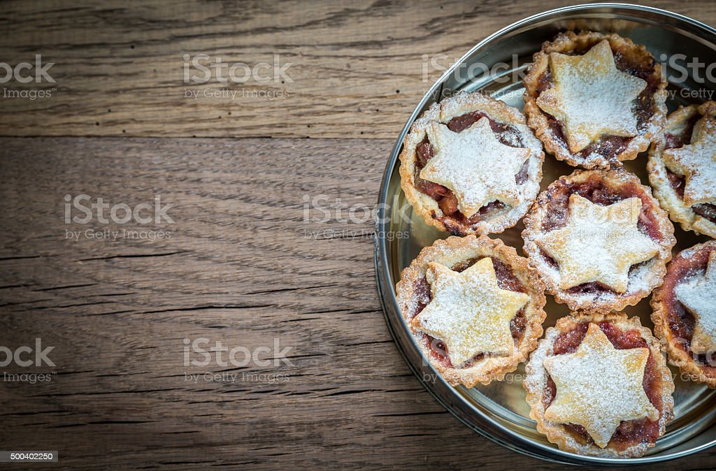 Box with mince pies: top view stock photo