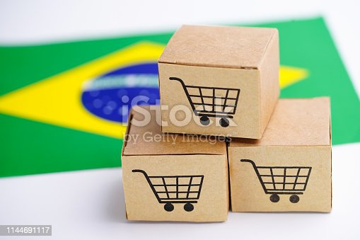 Box with shopping cart logo and Brazil flag : Import Export Shopping online or eCommerce delivery service store product shipping, trade, supplier concept.