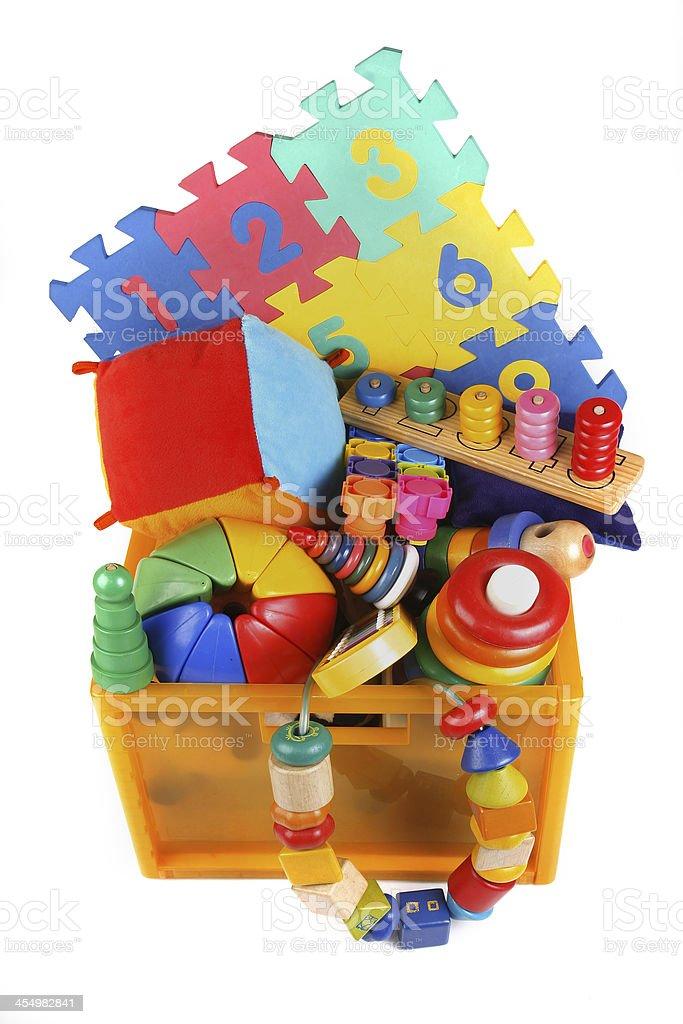Box with very many toys stock photo