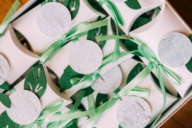 Box With Wedding Candy-box. Bomboniere Is Part Of Decoration For Wedding Celebration. - foto stock