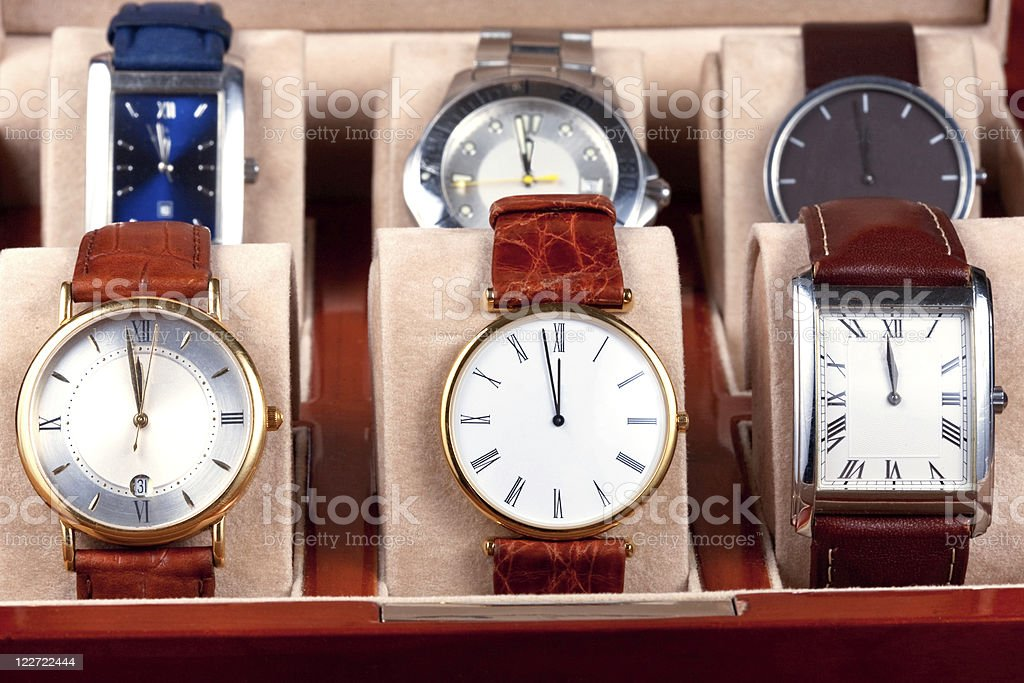 box with wristwatches stock photo
