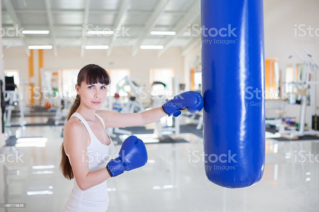 boxe training in gym stock photo