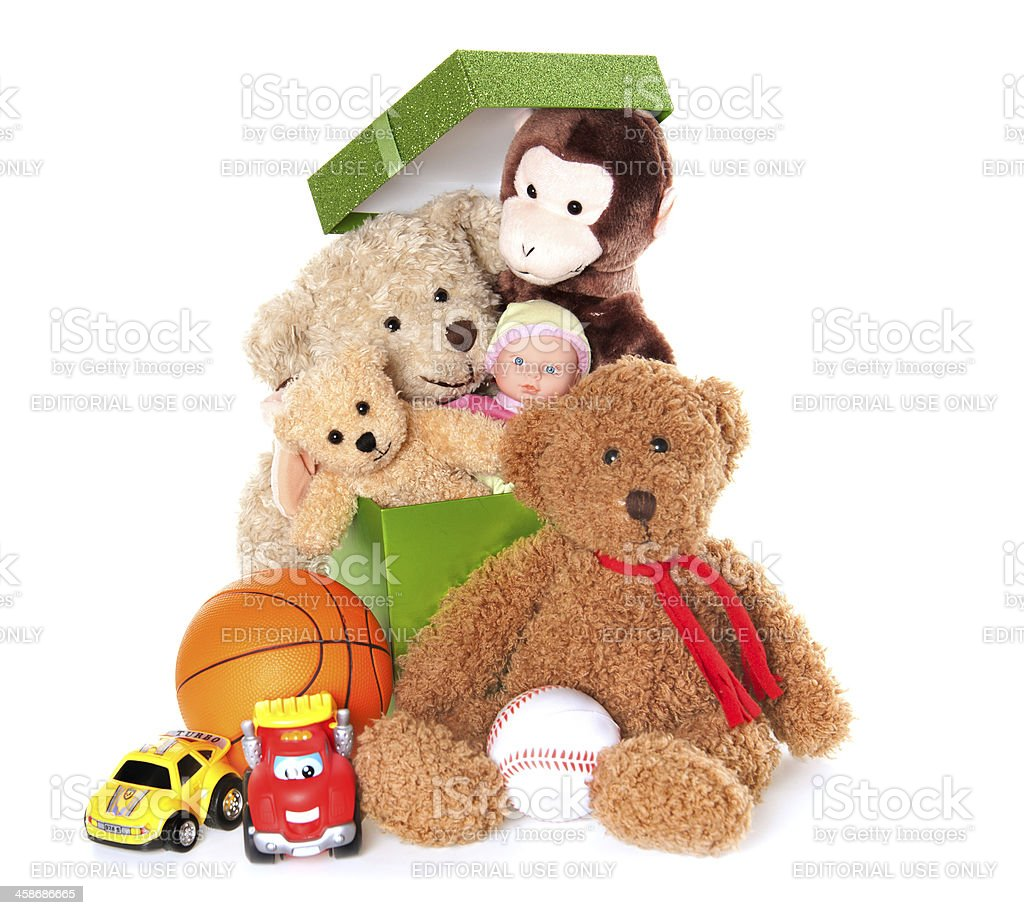 Boxe with Teddy Bear, Car, Monkey, Doll, Balls and Toys royalty-free stock photo