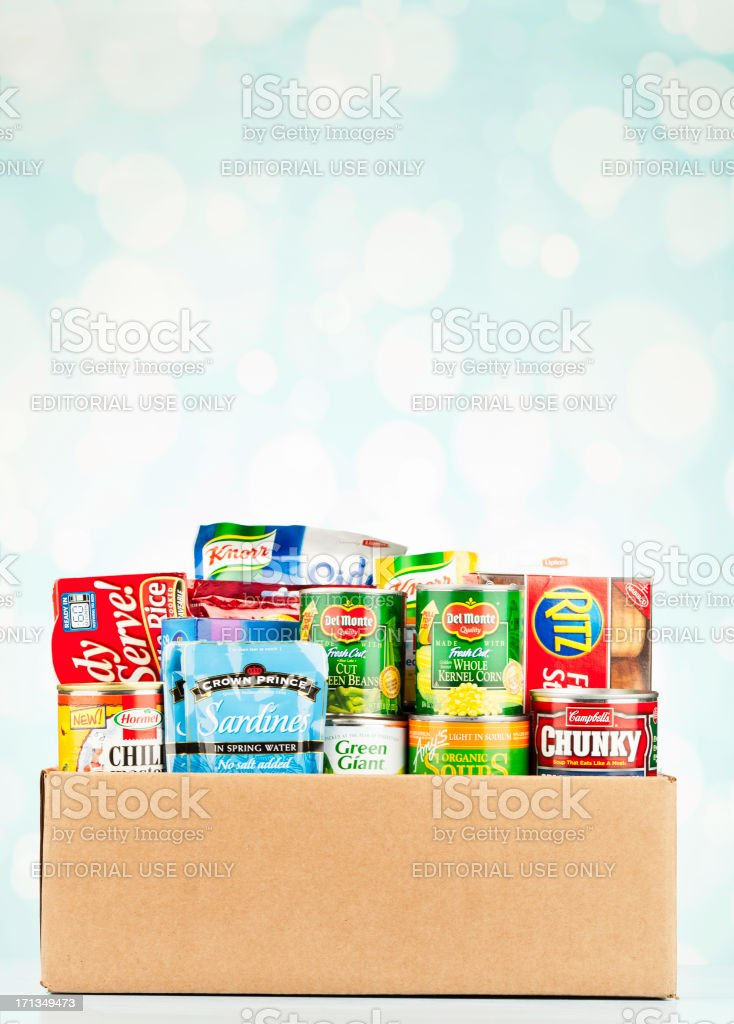 Boxed Groceries For Food Drive stock photo