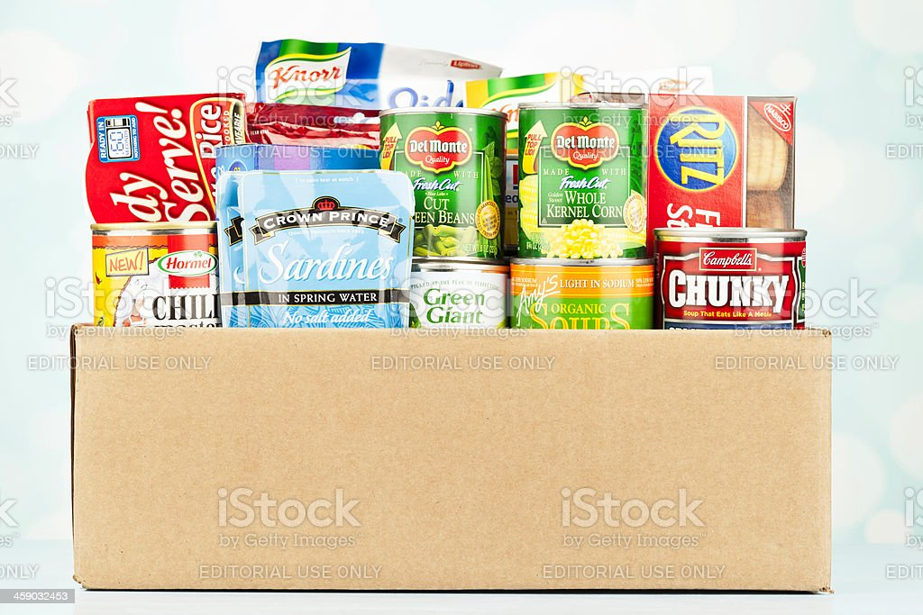 Boxed Groceries For Food Drive royalty-free stock photo