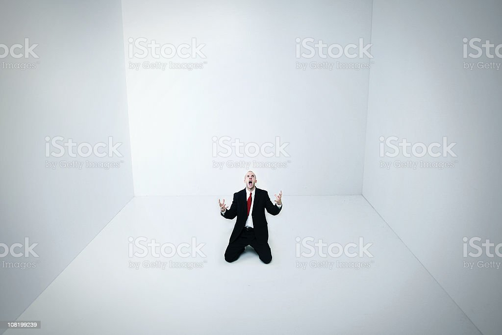 Boxed In A White Room stock photo