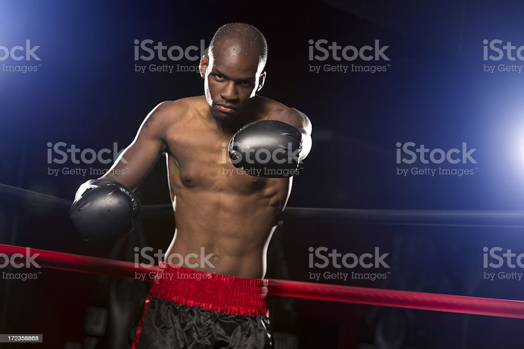 Boxer calling out opponent to fight royalty-free stock photo