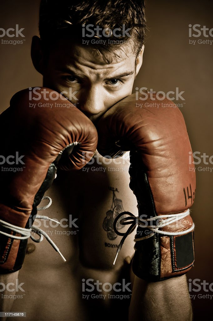 Boxer focusing before a fight royalty-free stock photo