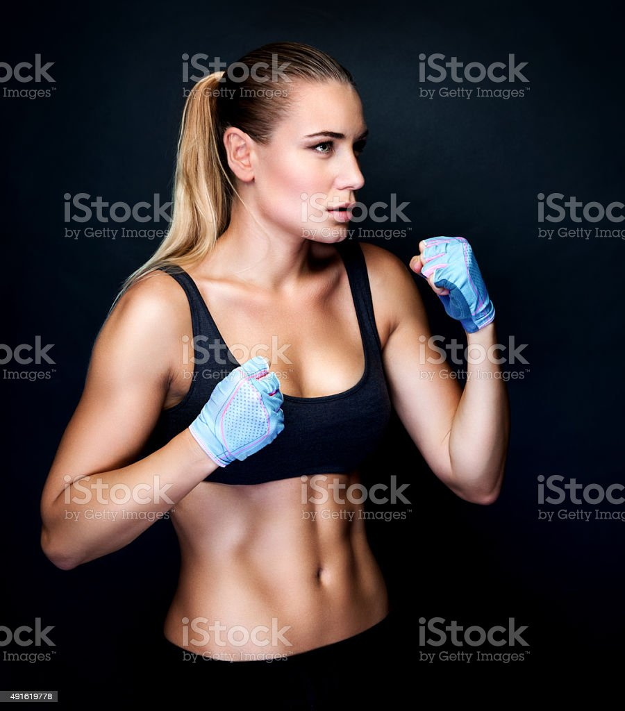 Boxer girl in action stock photo