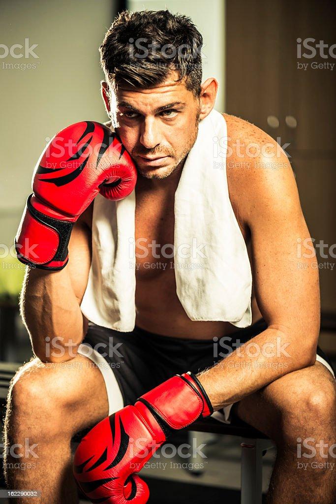 Boxer in locker room royalty-free stock photo