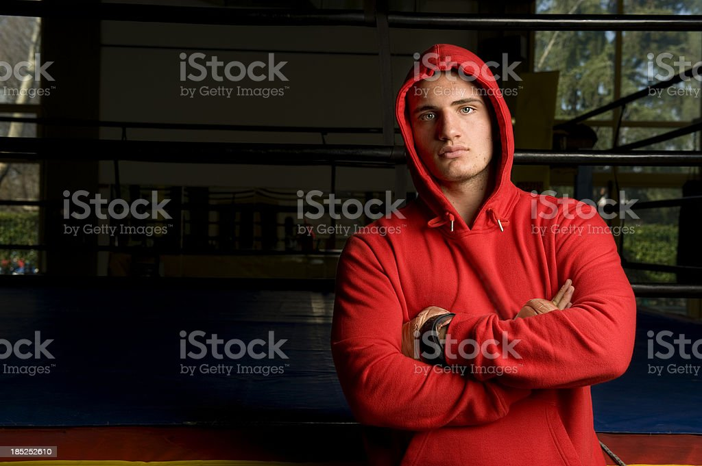 Boxer Relaxing After The Workout.Color Image royalty-free stock photo