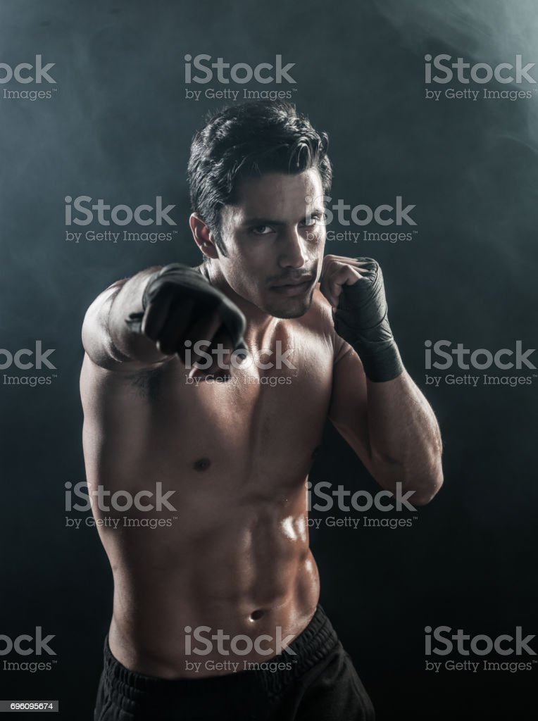 Boxer Shadow Boxing Warm Up stock photo