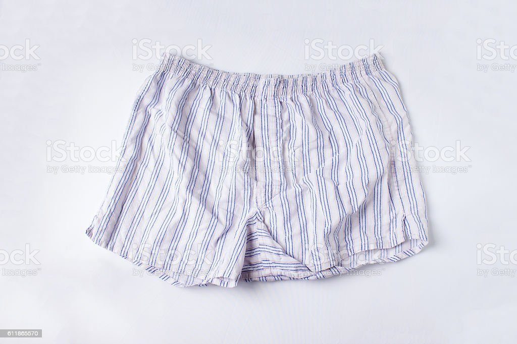 boxer short underwear on white background stock photo