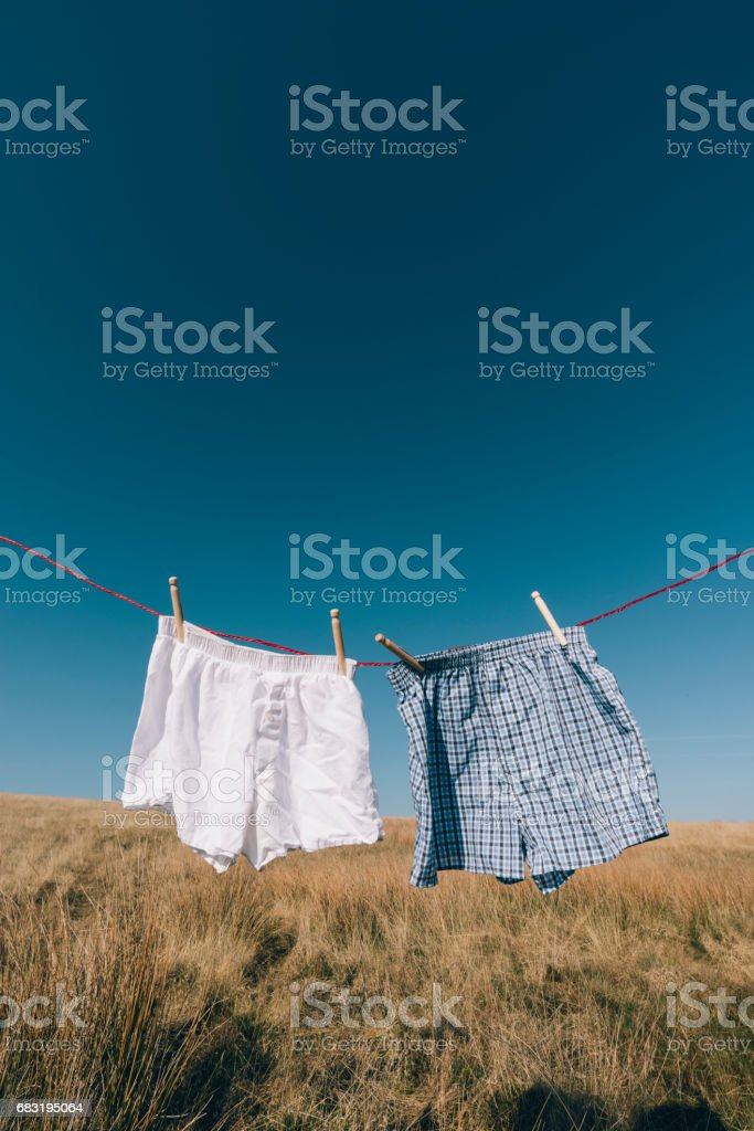 Boxer shorts on a washing line, rural setting. stock photo