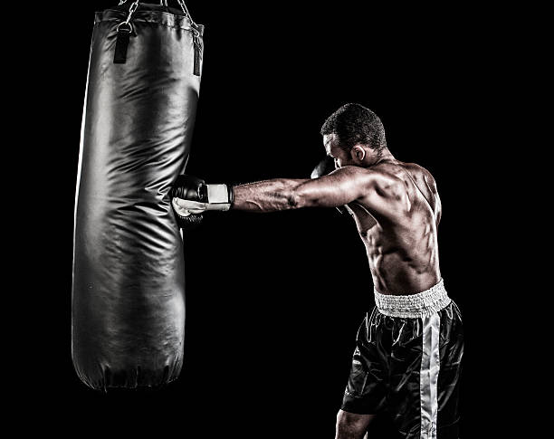 boxer-training - sandsäcke stock-fotos und bilder