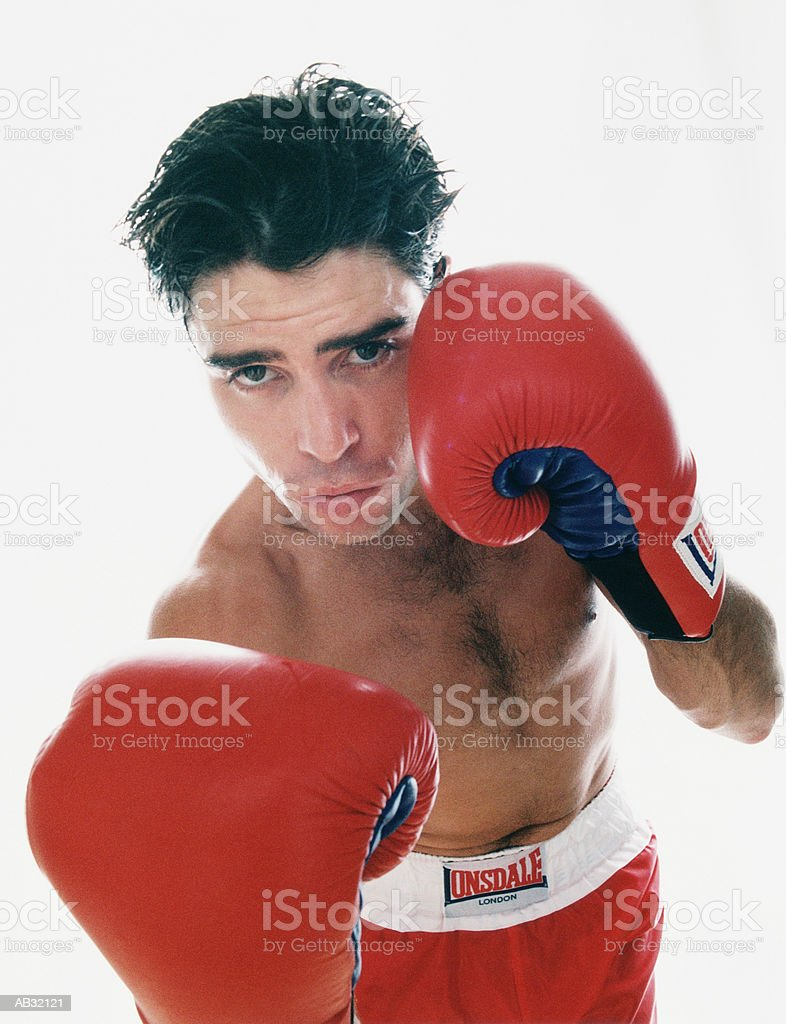Boxer wearing boxing gloves royalty free stockfoto