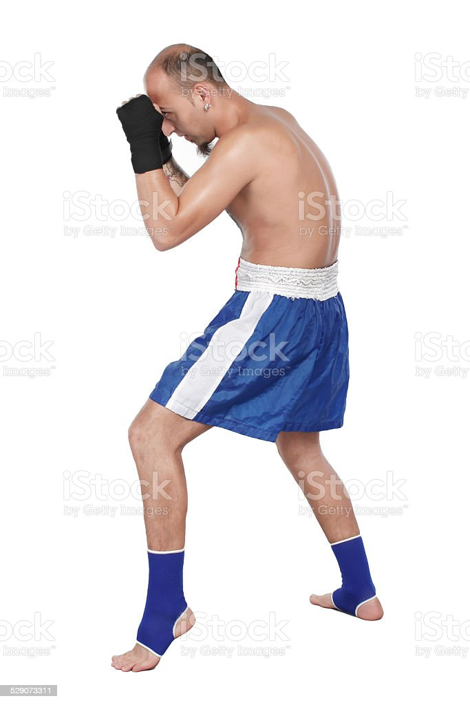 boxer with thai boxing action stock photo