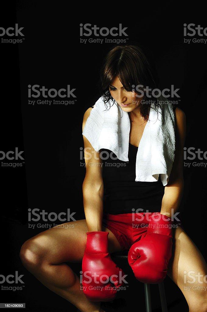 Boxer Woman Being Sad royalty-free stock photo