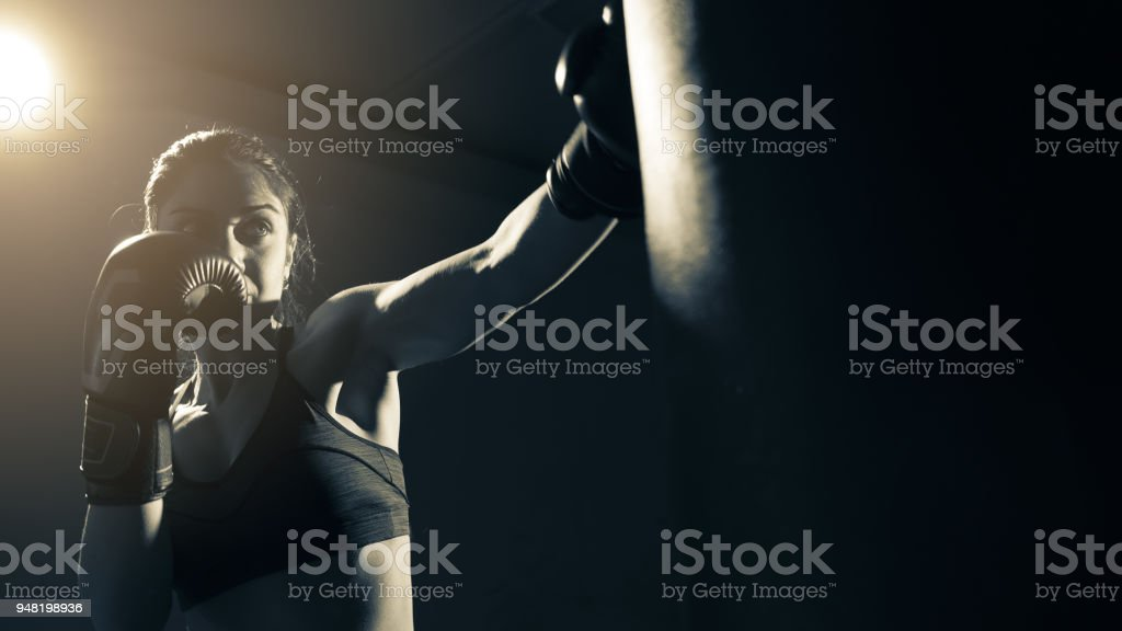Boxer woman training at the gym stock photo
