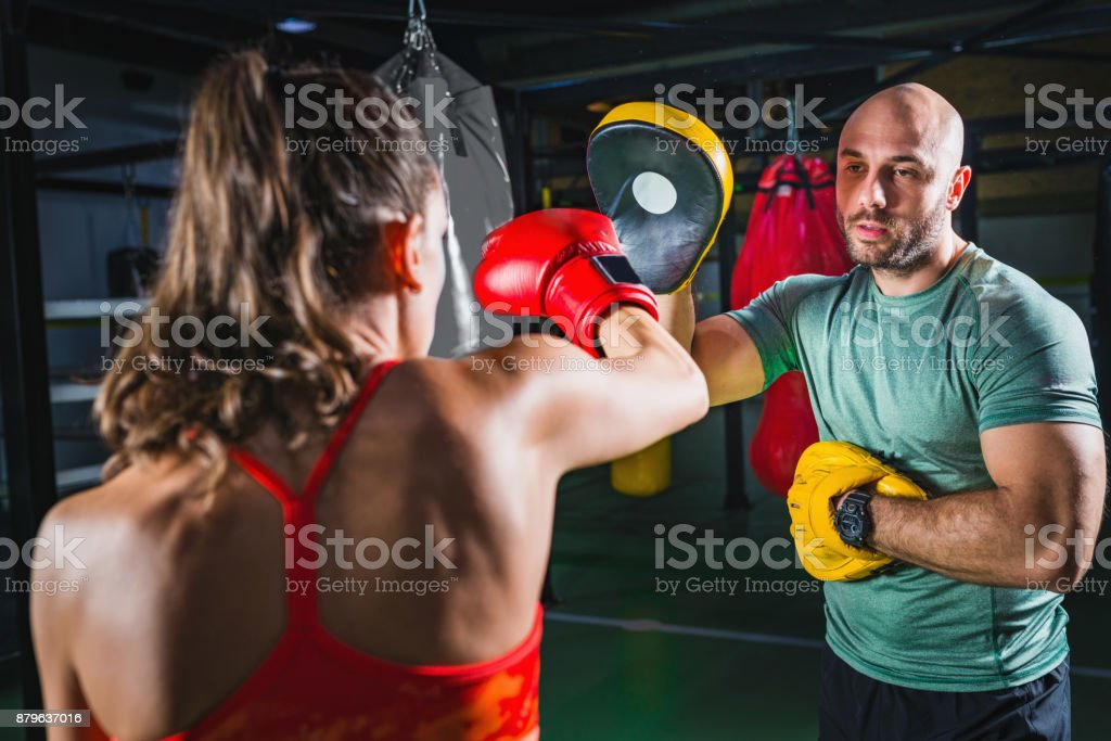 Boxercise, recreational boxing lessons stock photo