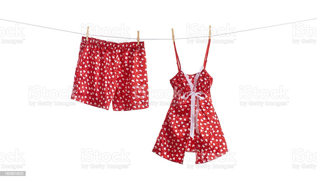 Boxers and Camisole Hanging on a Clothesline stock photo