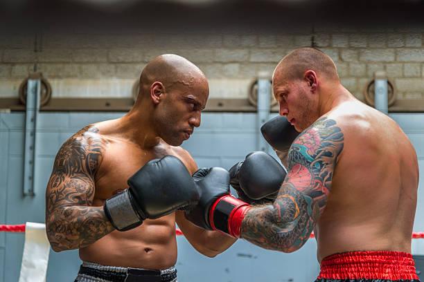 boxeadores combates de boxeo - foto de stock