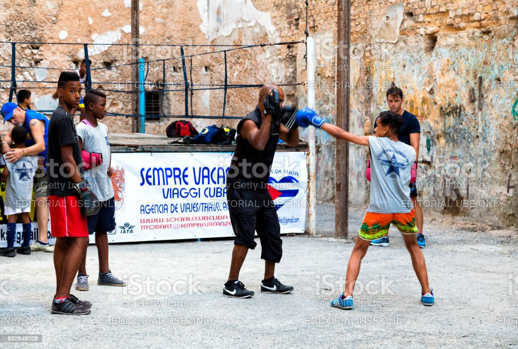 Boxers in Havana, Cuba stock photo