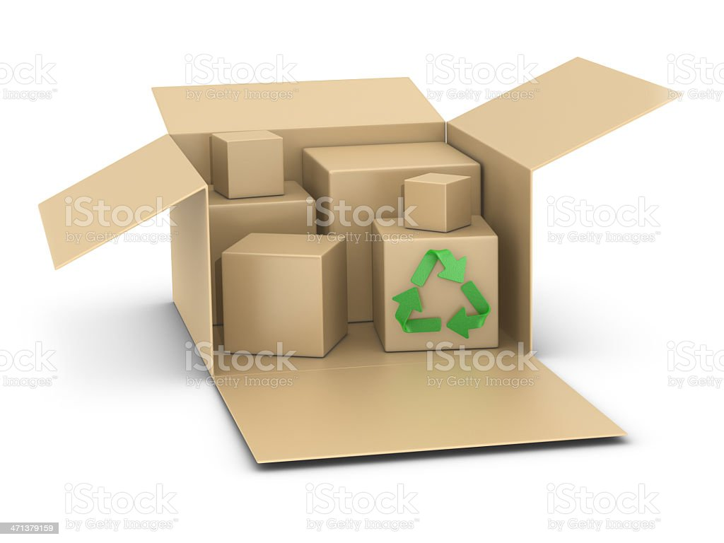 Boxes and Recycling Symbol royalty-free stock photo