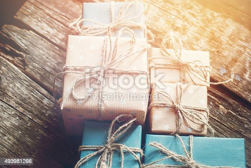 493890050 istock photo Boxes are Packed in Brown Paper with Linen Cord 493981266