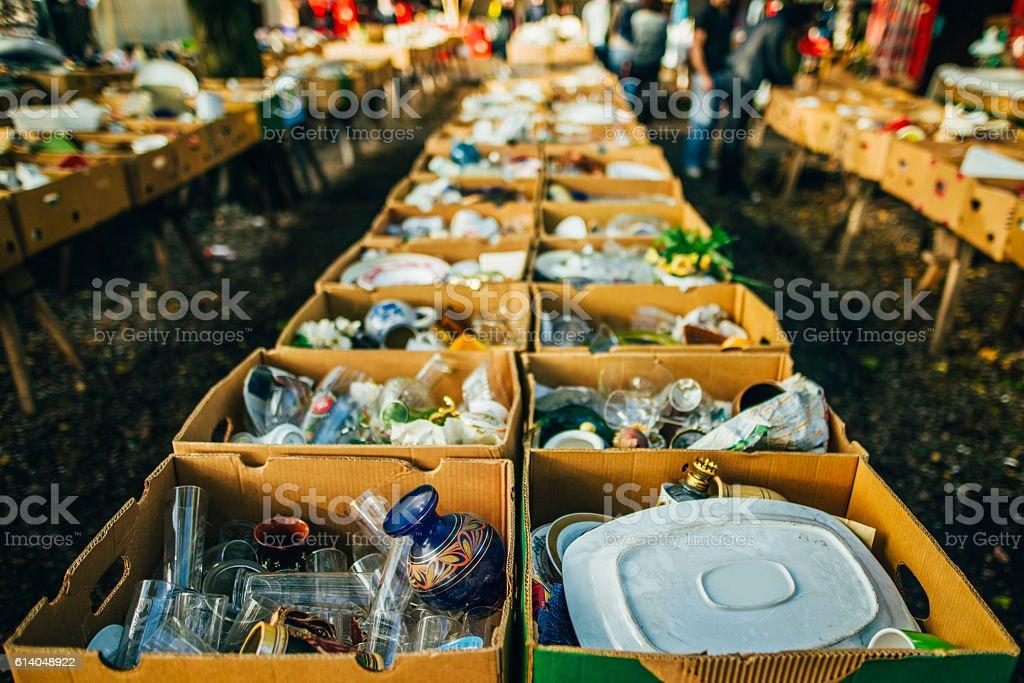 Boxes at flea market stock photo