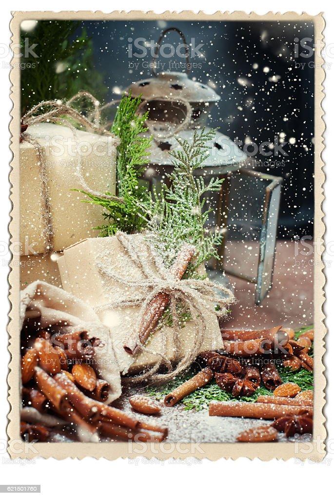 Boxes Decorated Linen Cord Green Branch Coniferous photo libre de droits