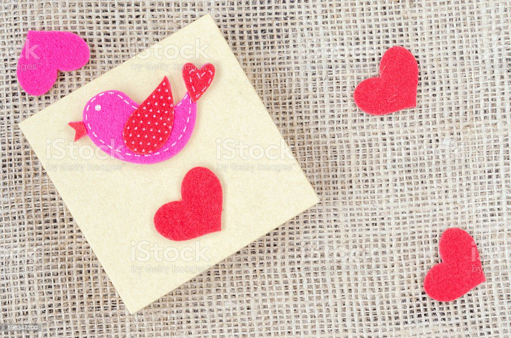 Boxes for gifts and paper heart on the sackcloth royalty-free stock photo