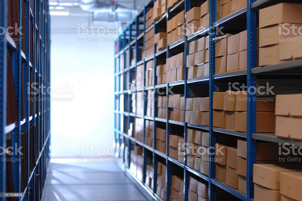 boxes in a basement store royalty-free stock photo