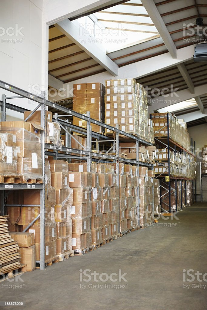 Boxes in a warehouse royalty-free stock photo