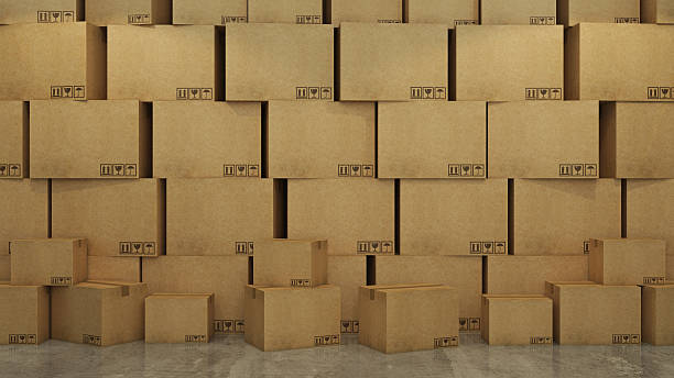 boxes in empty room 3d - playpen stock pictures, royalty-free photos & images