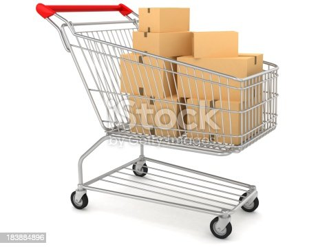 istock Boxes in Shopping Cart 183884896