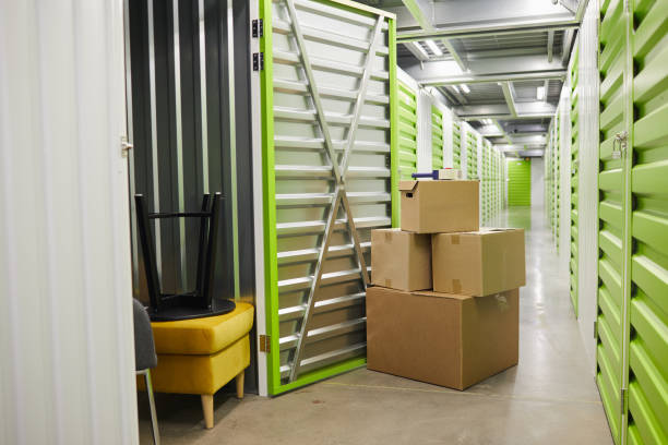 Boxes in Storage Unit stock photo