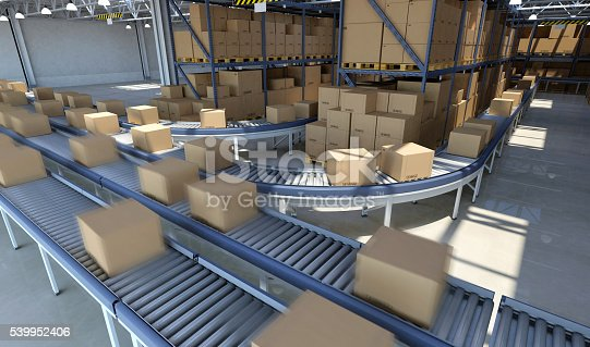 Boxes Moving On Conveyor Belt Inside Warehouse Ready For