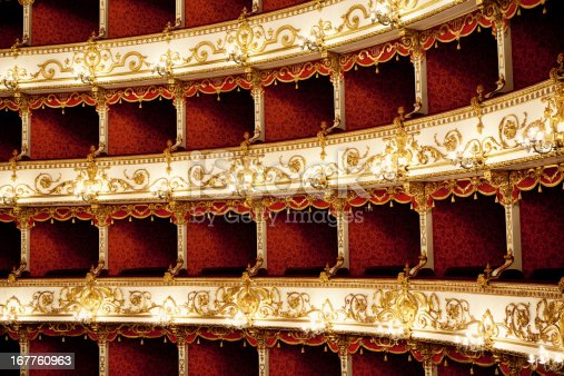 Boxes of Baroque Italian Theater in Reggio Emilia (first opening the April 21, 1857). Detail of antique boxes. Horizontal shot.