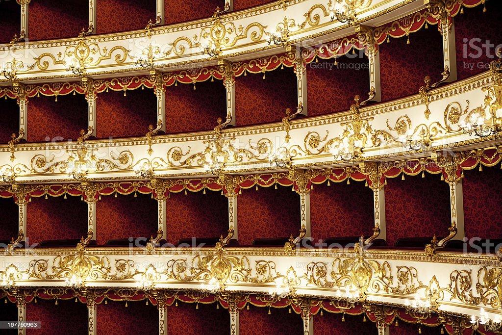 Boxes of Baroque Italian Theater stock photo