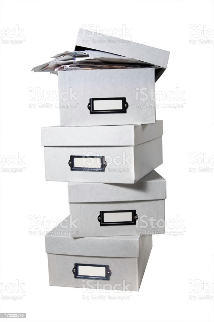 Boxes of Bills (WITH CLIPPING PATH) royalty-free stock photo