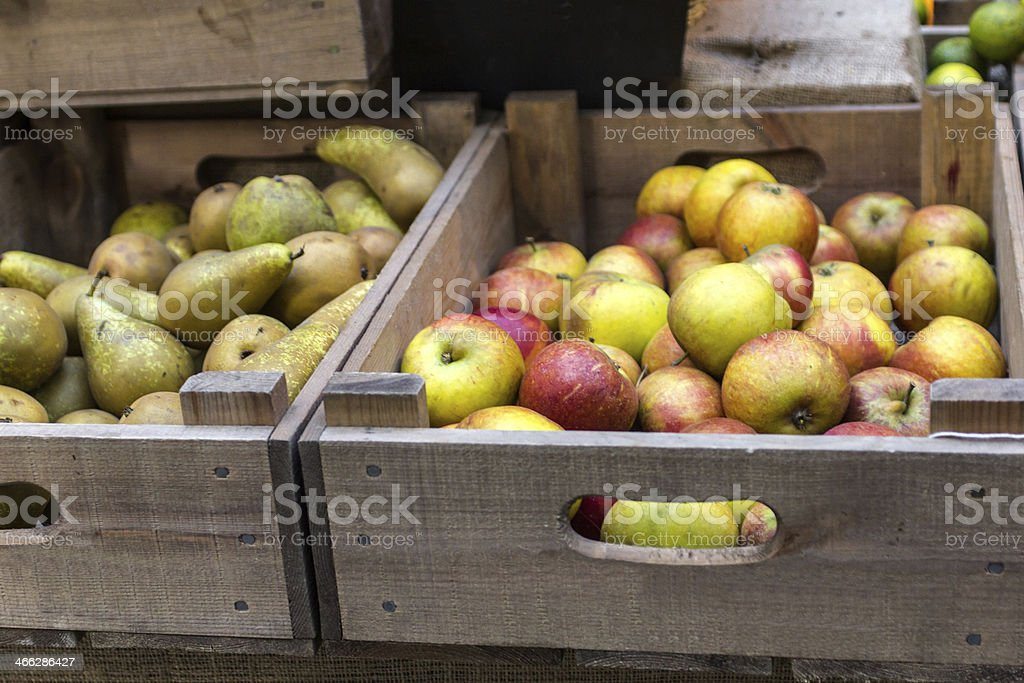 boxes of fruit stock photo