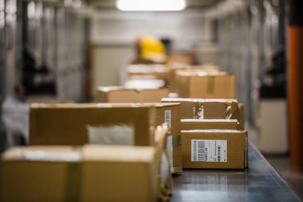 boxes on conveyer belt - conveyor belt stock pictures, royalty-free photos & images