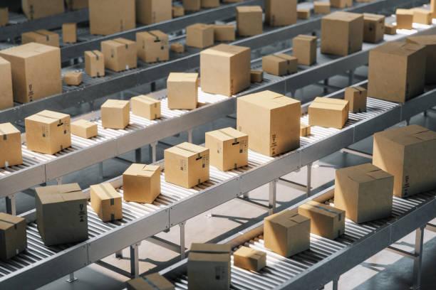 Boxes On Conveyor Belt stock photo