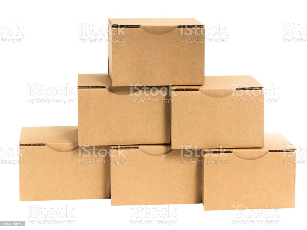 Boxes placed on white stock photo